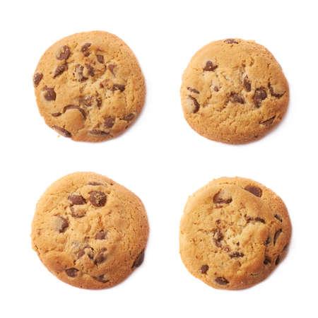 galleta de chocolate: Galleta redonda con el chocolate aisladas sobre el fondo blanco, conjunto de cuatro diferentes escorzos Foto de archivo