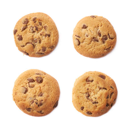 chocolate chip cookie: Round cookie with chocolate isolated over the white background, set of four different foreshortenings
