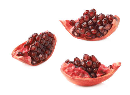 granatum: Pomegranate Punica granatum fruits cluster fragment isolated over the white background, set of three different foreshortenings Stock Photo