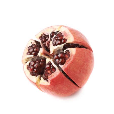punica granatum: Cut in segments pomegranate Punica granatum fruit isolated over the white background