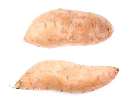 batata: Planta de batata o Ipomoea batatas aisladas sobre el fondo blanco, conjunto de dos escorzos diferentes