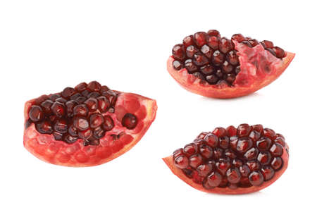 punica granatum: Pomegranate Punica granatum fruits cluster fragment isolated over the white background, set of three different foreshortenings Stock Photo