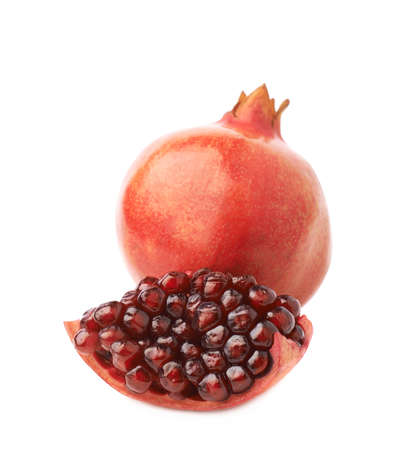 punica granatum: Served pomegranate Punica granatum fruit composition isolated over the white background