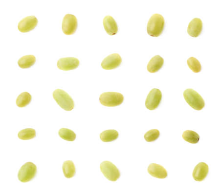 grape: Set of multiple single white table grapes isolated over the white background