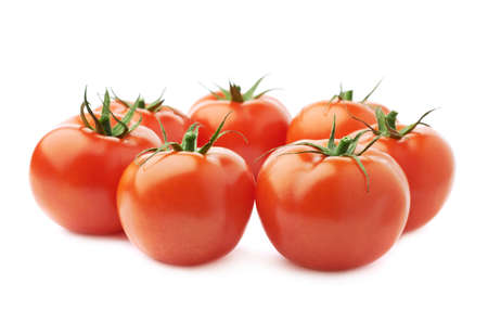 tomato: Pile of multiple ripe red tomatoes isolated over the white background Stock Photo