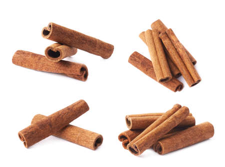Pile of cinnamon sticks isolated over the white background, set of four different foreshortenings