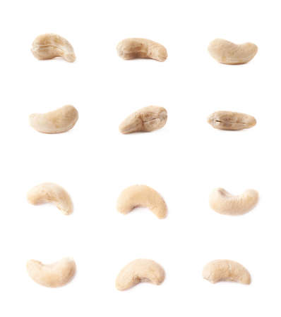 multiple images: Multiple single cashew nuts seeds isolated over the white background, set of six images, each in two foreshortenings