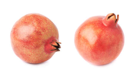 punica granatum: Pomegranate punica granatum fruit isolated over the white background, set of two different foreshortenings