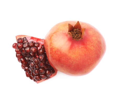 granatum: Served pomegranate Punica granatum fruit composition isolated over the white background
