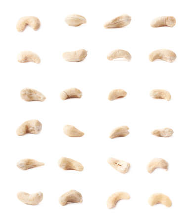 multiple images: Multiple single cashew nuts seeds isolated over the white background, set of multiple different images