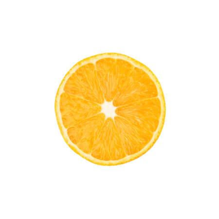 naranjo: Corte maduro naranja en un medio aislado sobre el fondo blanco, vista desde arriba