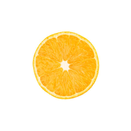 sliced orange: Ripe orange cut in half isolated over the white background, top view Stock Photo