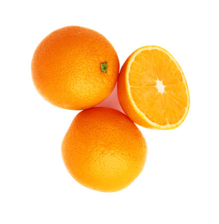 Served orange fruit composition isolated over the white background, top view