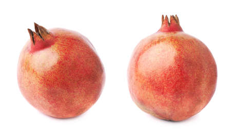 granatum: Pomegranate punica granatum fruit isolated over the white background, set of two different foreshortenings