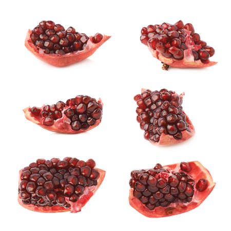 punica granatum: Pomegranate Punica granatum fruits cluster fragment isolated over the white background, set of six different foreshortenings Stock Photo