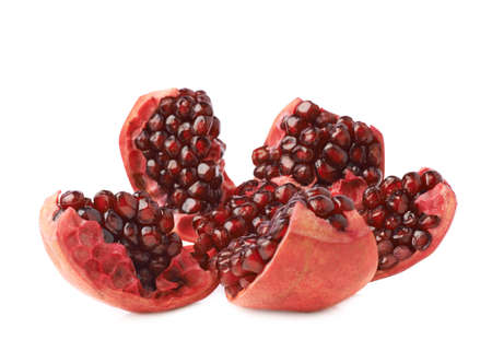 granatum: Split open flower served pomegranate Punica granatum fruit isolated over the white background Stock Photo