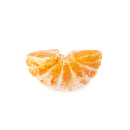 cleaned: Half of fresh juicy peeled cleaned tangerine ripe fruit isolated over the white background