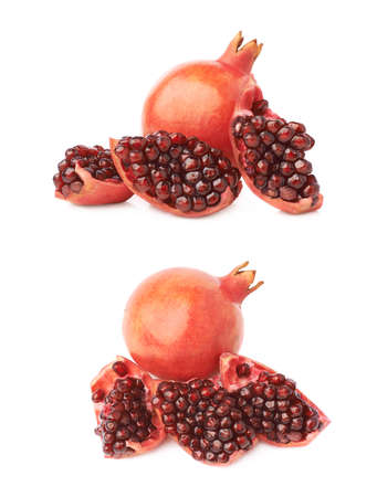 granatum: Served pomegranate Punica granatum fruit composition isolated over the white background, set of two different foreshortenings Stock Photo