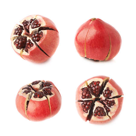 punica granatum: Cut in segments pomegranate Punica granatum fruit isolated over the white background, set of four different foreshortenings