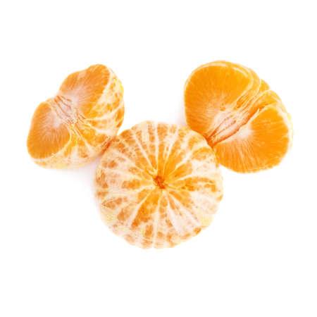 cleaned: Two halves and whole fresh juicy peeled cleaned tangerine ripe fruit isolated over the white background Stock Photo