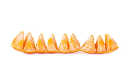 cleaned: Line of fresh juicy peeled cleaned tangerine fruit isolated over the white background
