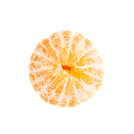 cleaned: Fresh juicy peeled cleaned tangerine ripe fruit isolated over the white background, top view Stock Photo