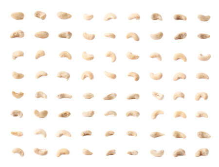 multiple images: Multiple single cashew nuts seeds isolated over the white background, set of multiple images in different foreshortenings