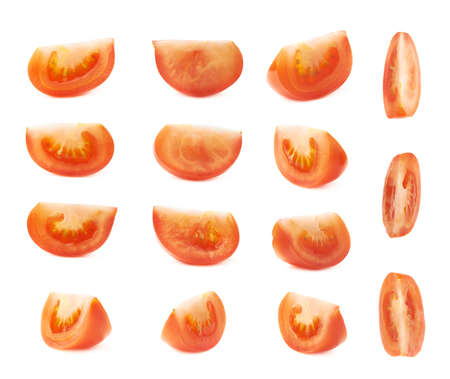 tomato slice: Slice section of red tomato isolated over the white background, set of multiple different foreshortenings