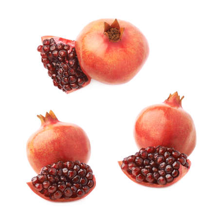 a pomegranate: Served pomegranate Punica granatum fruit composition isolated over the white background, set of three different foreshortenings