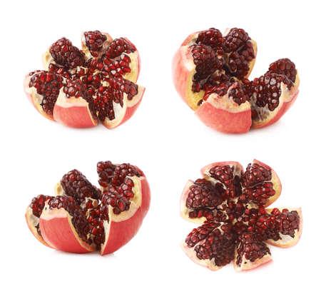 granatum: Split open flower served pomegranate Punica granatum fruit isolated over the white background, set of four different foreshortenings