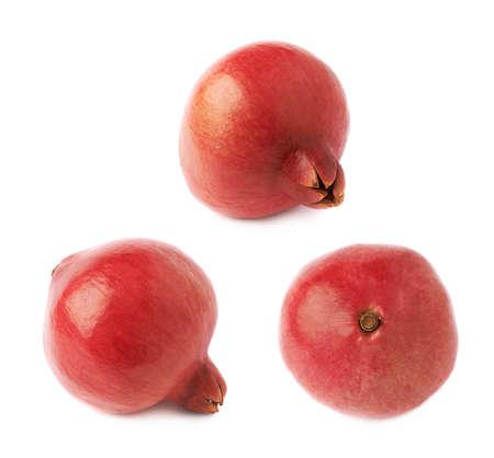 punica granatum: Pomegranate punica granatum fruit isolated over the white background, set of three different foreshortenings