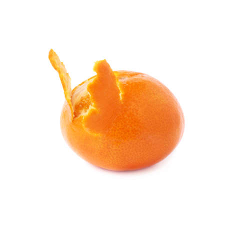 cleaned: Fresh juicy tangerine fruit partly peeled cleaned isolated over the white background