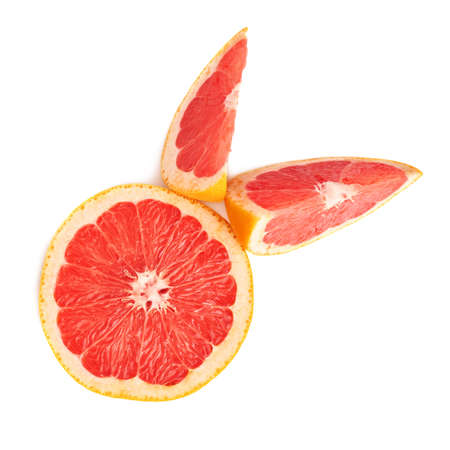 grapefruit: Served fresh grapefruit composition isolated over the white background, top view