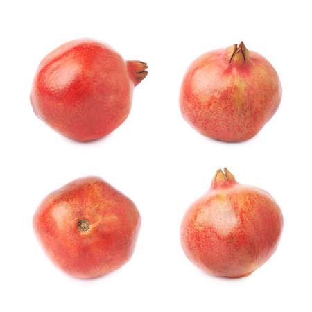 punica granatum: Pomegranate punica granatum fruit isolated over the white background, set of four different foreshortening Stock Photo