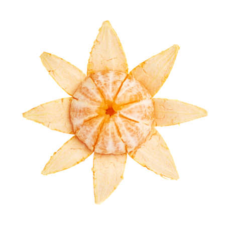 flower shape: Fresh juicy tangerine fruit partly peeled cleaned isolated over the white background, top view Stock Photo