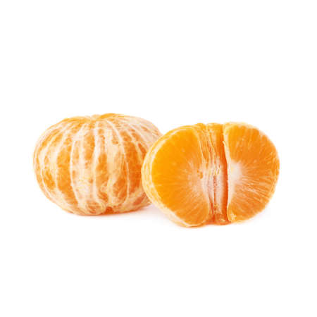cleaned: Half and whole fresh juicy peeled cleaned tangerine ripe fruit isolated over the white background