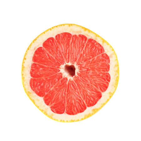 Single ripe fresh grapefruit cut in half isolated over the white background, top view