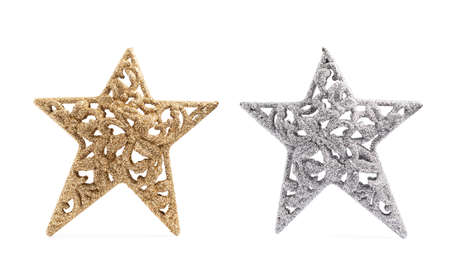 star ornament: Christmas star decoration piece isolated over the white background, set of two stars, silver and golden