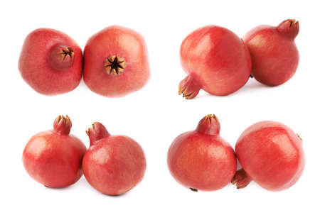 punica granatum: Two pomegranate punica granatum fruits composition isolated over the white background, set of four different foreshortenings Stock Photo