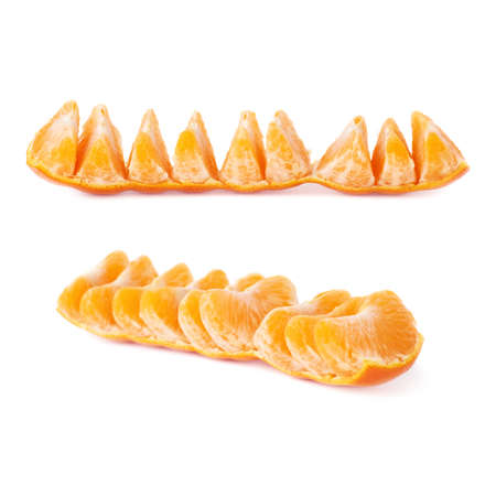 cleaned: Line of fresh juicy peeled cleaned tangerines fruits isolated over the white background
