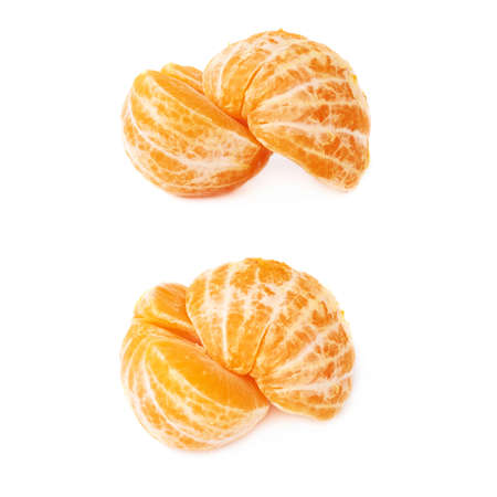 cleaned: Two halves of fresh juicy peeled cleaned tangerine ripe fruit isolated over the white background Stock Photo