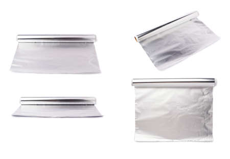 foil roll: Set of roll of aluminium gray foil paper over isolated white background, different foreshortenings Stock Photo