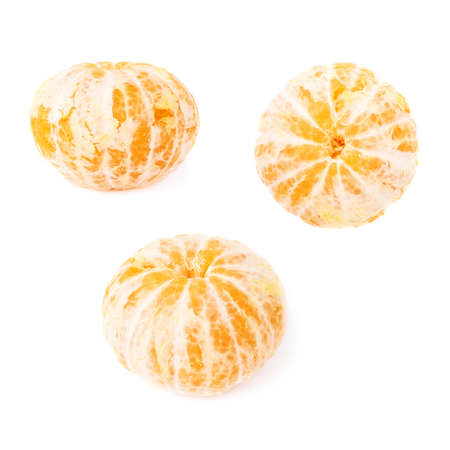 cleaned: Fresh juicy peeled cleaned tangerines ripe fruits isolated over the white background