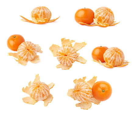 cleaned: Fresh juicy peeled cleaned tangerine ripe fruit isolated over the white background set