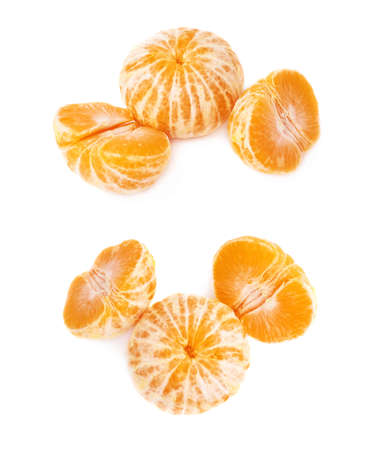 sweet segments: Two halves and whole fresh juicy peeled cleaned tangerine ripe fruit isolated over the white background Stock Photo