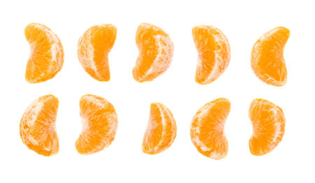 sweet segments: Slice sections of ripe tangerine isolated over the white background Stock Photo