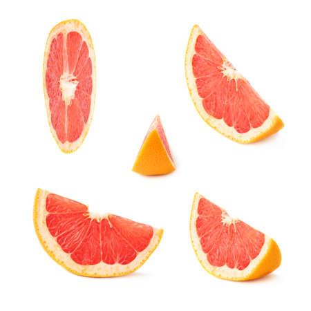 grapefruit: Slice section of ripe grapefruit isolated over the white background