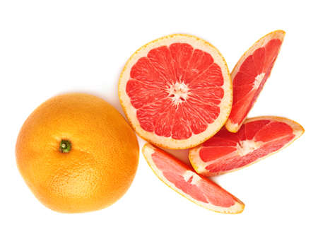 sweet segments: Served fresh grapefruit composition isolated over the white background, top view