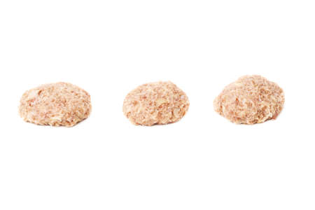 farce: Set of raw miced force meat over white isolated background, , different foreshortenings Stock Photo