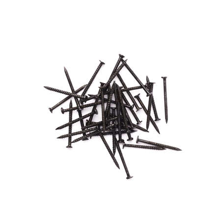 inflexible: Pile of metal nails isolated over white background